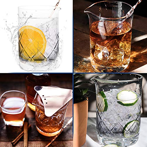 Cocktail Mixing Glass for Home Bar - Mixing Glass - Professional Bartender Tool for Cocktail Set Cocktail Party Supplies & Cocktail Kit Barware - Bar Accessories - Dishwasher Safe 18 oz Etched Glass by Taste Drink Go (Image #2)
