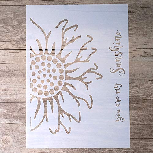 (DIY Decorative Sunflower Stencil Template for Painting on Walls Furniture Crafts (A4 Size))