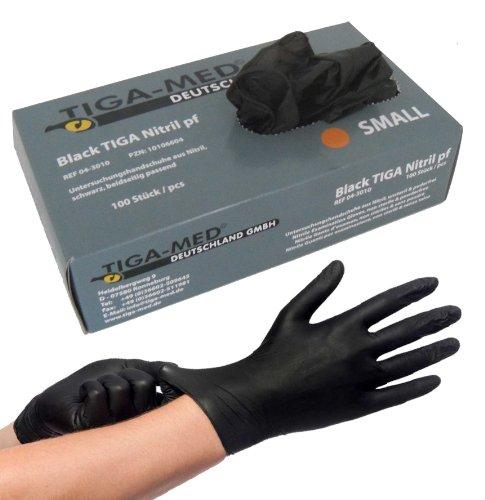 Nitrilhandschuhe puderfrei schwarz Black 100 Stück Größe Large Einmalhandschuhe Nitril Einweg- Handschuhe ohne Latex