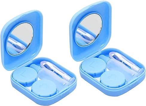 SUPVOX 2pcs Kit de Estuche para Lentes de Contacto Portátil con Patrón de Rosas Caja de Lentes de Contacto de Viaje con Espejo Aplicador y Botella de Solución: Amazon.es: Salud y cuidado