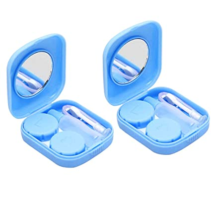 SUPVOX 2pcs Kit de Estuche para Lentes de Contacto Portátil con Patrón de Rosas Caja de Lentes de Contacto de Viaje con Espejo Aplicador y Botella de ...