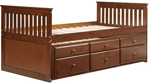 Captain's Twin Daybed with Trundle Bed and Storage Drawers, Walnut