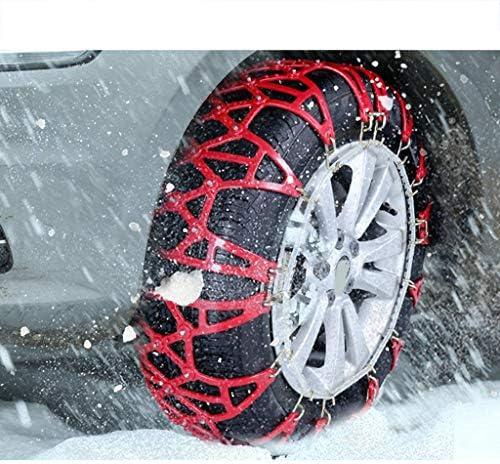 携帯用緊急牽引車のスノータイヤの滑り止めの鎖 タイヤチェーン 軽自動車 SUV車用カーセキュリティチェーンオフロード安全なスノータイヤホイールチェーン緊急肥厚アンチスキッドベルトレッド TPUバンおよび軽トラック用ユニバーサルフィットタイヤ繰り返し使用 (Size : 285/65R17)