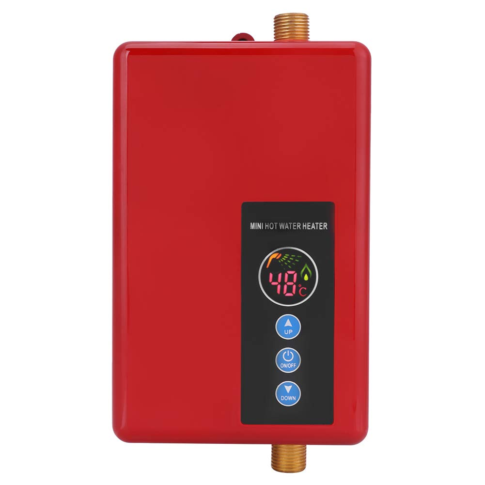 Fdit 5500W Calentador de Agua Elé ctrico Instantá neo Grifo Sin Tanque Calentamiento Calentador de Agua Automá tico Digital LCD de Caldera Termostato Temporizador portá til Ajustable Programable(Negro)