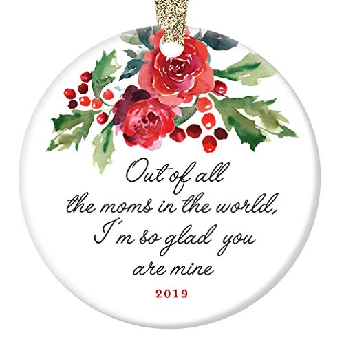 World's Best Mom 2019 Christmas Ornament Mother's Day Birthday Holiday Keepsake Present So Glad You're My Mother Special Mommy Mama Pretty Red Floral 3