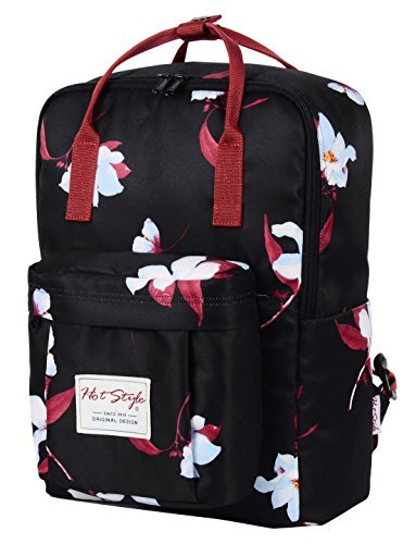 HotStyle Convertible Floral Backpack for Girls - Waterproof fits 14-inch Laptop - Black