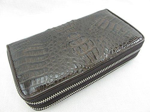 PELGIO Genuine Crocodile Caiman Skin Leather Zip Around Wristlet Wallet Purse (Chocolate Brown) by Pelgio
