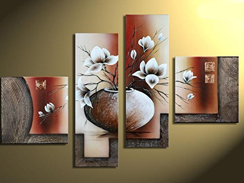 TJie Art Hand Painted Mordern Oil Paintings Wall Decor Potted Flowers Clouds Home Landscape Oil Paintings Splice 4-piece/set on Canvas