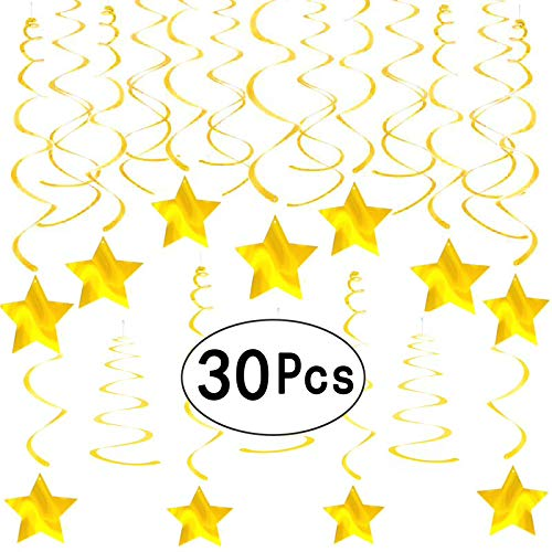 Twinkle Gold Foil Stars Ceiling Hanging Swirls Decorations Wedding Bridal Baby Shower Birthday Graduation Party Decorations 30Ct