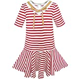 Sunny Fashion KL33 Girls Dress Striped School Bow Tie Jumper Size 7