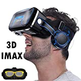 VR Headset/Goggles, 2018 3D Viewing Virtual Reality Glasses w/ 3D HiFi Headphones for 3D Movie Video Game Compatible for iOS iPhone X 8 7 6 S Plus, Android Samsung Galaxy S9 S8 S7 Edge, Note 5 4 2 A8
