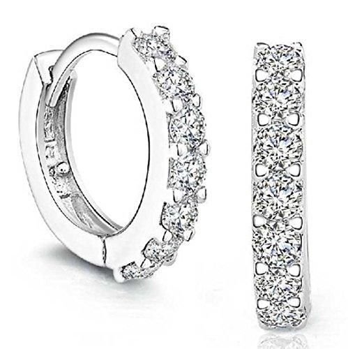 Mr.Macy Elegent Earing, Hot Sale Sterling Silver Rhinestones Hoop Diamond Stud Earrings for Women (A)