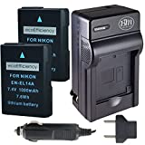 ecoEfficiency 2 Pack of Fully Decoded EN-EL14, EN-EL14A Batteries and Charger for Nikon D3400 Digital SLR Camera