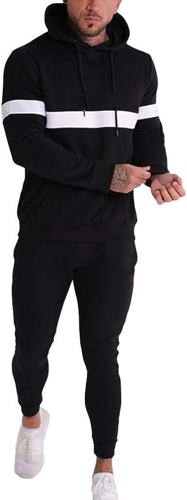 Mens Contrast Tracksuit Hoodie Jogging Fleece Long Sleeves Trouser Bottoms Pants