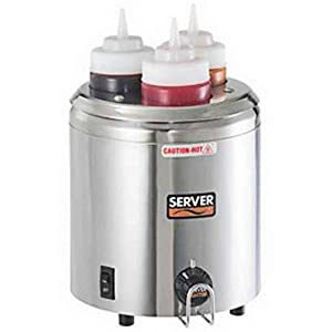 Server Products SBW-86810 Topping Squeeze Bottle Warmer, (3) 16 oz. Capacity, Black/Stainless Steel