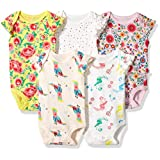 Rosie Pope Baby Girls' 5 Pack Bodysuit, Floral Multi, 6-9 Months