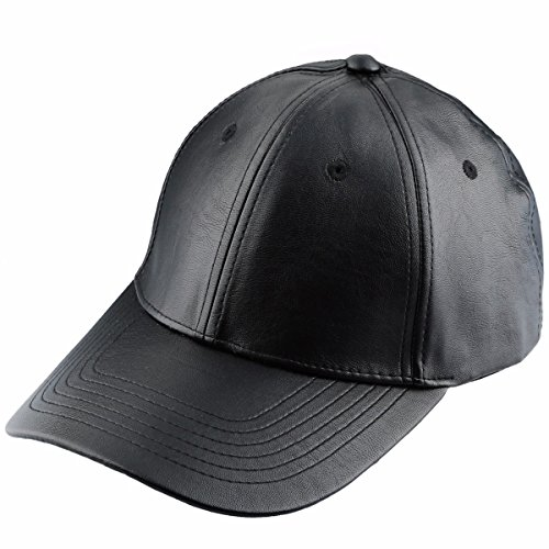 Samtree Unisex Baseball Cap,Adjustable PU Leather Corduroy Sun Protection Sport Hat(01-Black(Leather)) ()