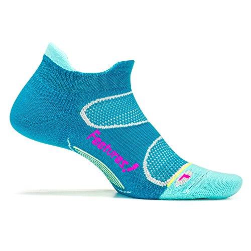 Feetures! - Elite Light Cushion - No Show Tab - Capri/Pink Pop - Size Medium - Athletic Running Socks