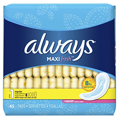 - Always Maxi, Size 1, Regular Pads, Scented, 45 Count