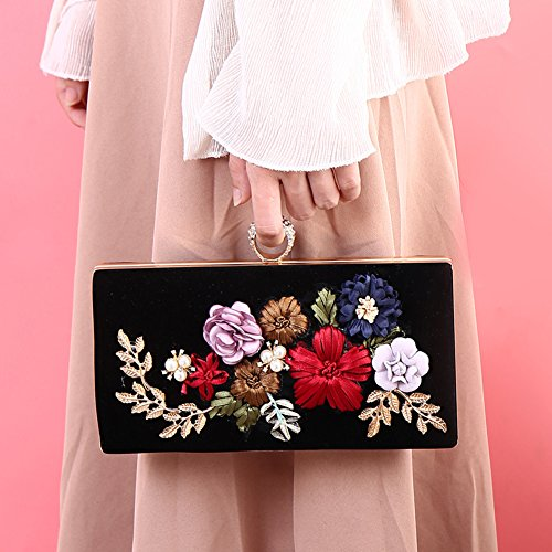 Shoulder Evening Flower Girl's Flada Beaded 3D Black Rhinestones Handbags 2 Clutches Bags w7Anqxn