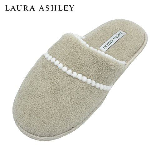 Pom Terry Scuff Slipper Soft Tan Trim Ashley Laura Ladies Eqzaz4