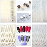 12 Sheets Gold Silver 3D Metallic Nail Stickers for Women, Kalolary Noble Metallic Chains Line Wave Point Stars Nail Stickers Curve Stripe Lines Adhesive Striping Tape Nail Design Gift for Women