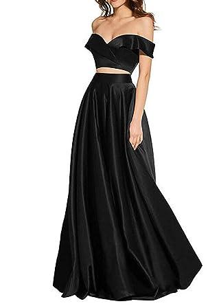Z Sexy Off The Shoulder Prom Dresses 2 Piece Long Satin Evening Dresses  Party 4e93c8771