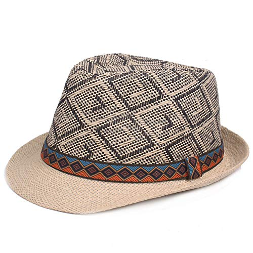 Plaid Straw Fedora - New Summer Plaid Men's Straw Hat Fedora Fashion British Style Muts Jazz Men Women Hats Black