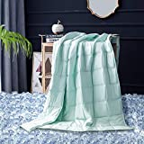 Maple Down Summer Cooling Weighted Blanket, Heavy Blanket Cool Bed Blankets Natural Bamboo Viscose Luxury | 15lbs, 60x80'', Queen | Mircro Glass Beads | Mint Green