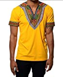 Karlywindow Mens Dashiki Africa Short Sleeve T-Shirts V Neck Floral Print Tee Shirts Top