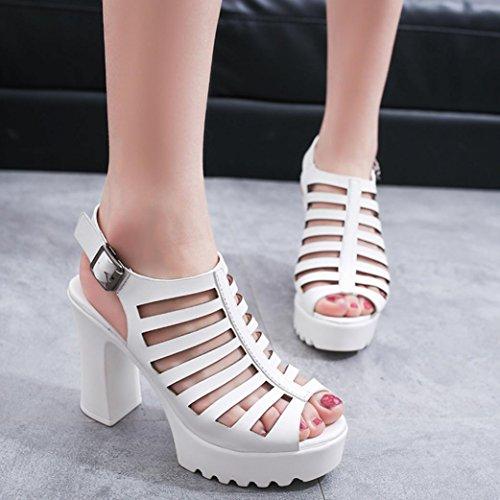 Omiky® Frauen Damen Rough Hollow Roman Schuhe Wasserdichte Sandalen High-Heels Open-Toed Schuhe Weiß