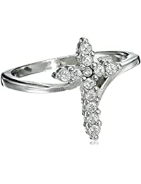 Cubic Zirconia Cross Ring Sterling Silver (Color Options, Sizes 3-15)