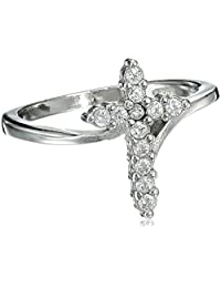 Cross Cubic Zirconia Ring 15MM Sterling Silver 925