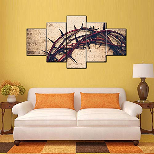 The Holy Bible Crown Thorns Wall Art Painting The Picture Print On Canvas Religion Pictures Home Decor Decoration for Living Room Gallery-Wrapped Stretched Wooden Framed Ready to Hang(60''Wx32''H) ()