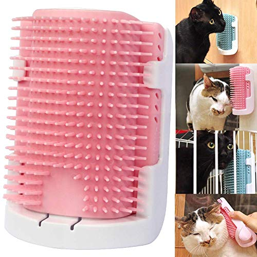 iHOO Cat Self Groomer Wall Corner Massage Comb Grooming Brush Soft Rubber Bristles Kitten Massager Tool Fit for Flat Wall Corner Cage and Hand Hold,Pink