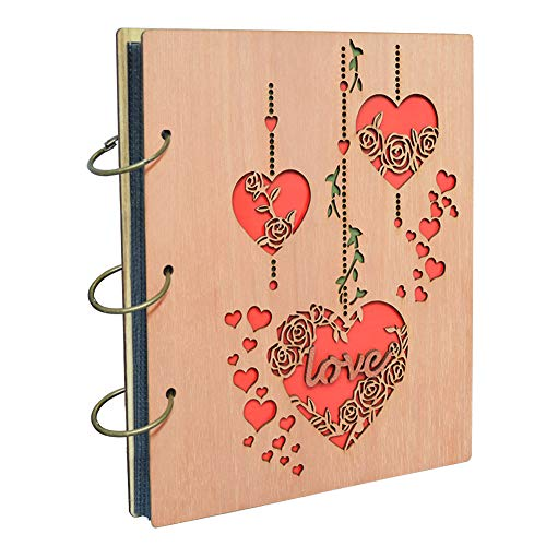 Wood Photo Album Book - 5x7 Love Photo Album Heart Wooden Picture Albums Book with 120 Pockets Wedding Anniversary Valentines Gifts