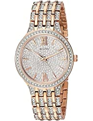 Bulova Womens 98L235 Swarovski Crystal Rose Gold Tone Pave Bracelet Watch