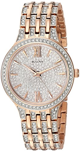 Bulova Women's 98L235 Swarovski Crystal Rose Gold Tone Pave Bracelet Watch Bulova Ladies Crystal Bezel