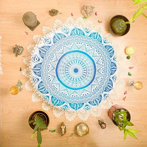 "Aunercart 32"" Blue Cotton Ombre Diya Bati Floor Pillow Cover Seating Throw Boho Meditation Cushion Cover Hippy Decorative Bohemian Round Ottoman Indian Mandala Yoga Pouf Large Sham Design Outdoor"