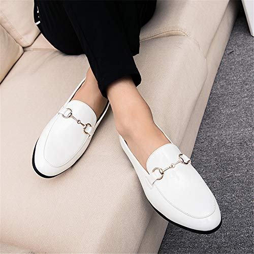 Blanco EU Color Zapatos Color Plano Hombre Calzado Ofgcfbvxd Respirable Oxford tamaño Casual Decorativos holgazán de Blanco Formal 40 Solid Charol Button Cuero Button Negocios de de 8wSq71