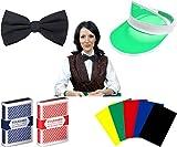 Professional Casino Dealer Accessory Kit - Includes Dealer Visor, Bow Tie, 2 Decks Cards and 5 Cut Cards!