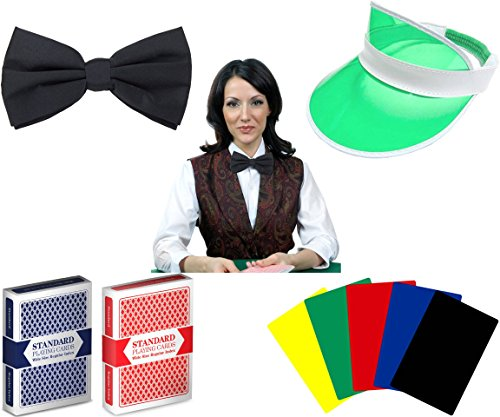 Professional Casino Dealer Accessory Kit - Includes Dealer Visor, Bow Tie, 2 Decks Cards and 5 Cut Cards! by Poker Supplies