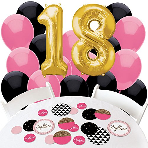 Chic 18th Birthday - Pink, Black and Gold - Confetti and Balloon Party Decorations - Combo Kit