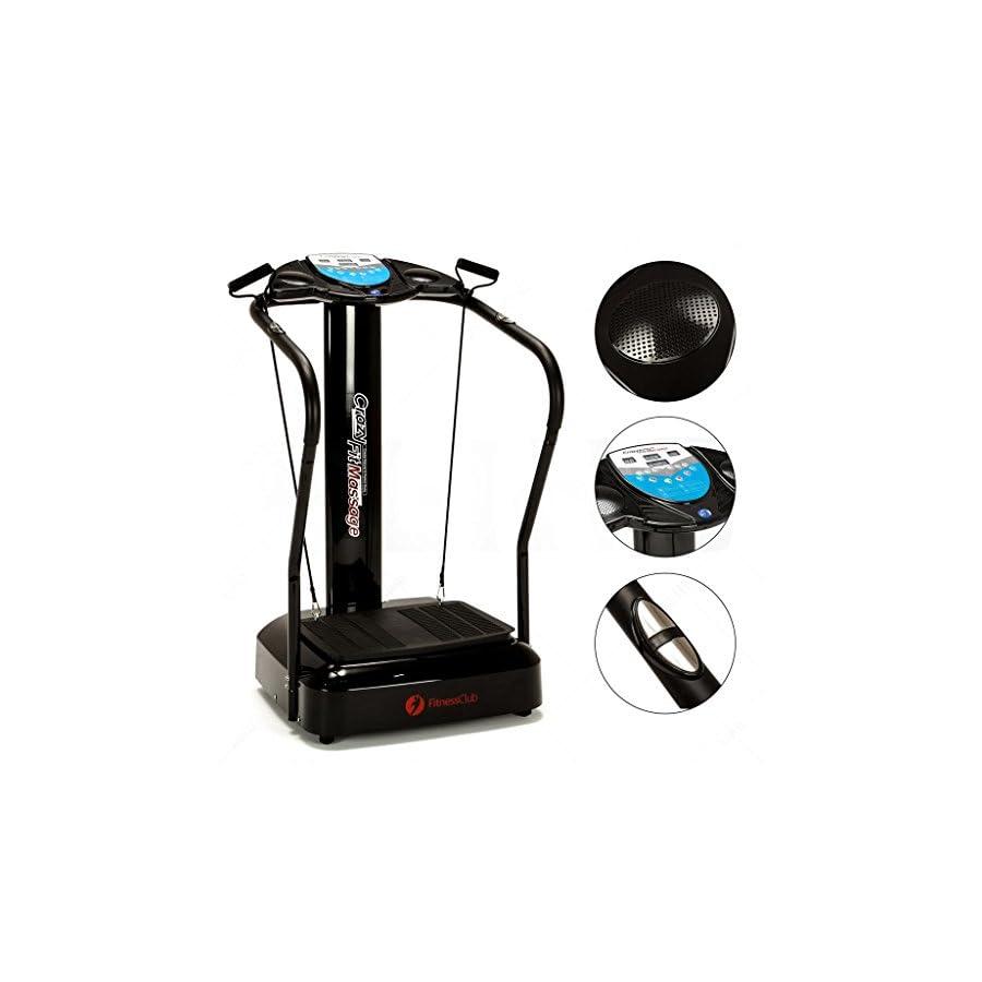 Fitnessclub Full Body Vibration Platform Fitness Machine Slim Whole Body Fitness Massage Machine Crazy Fit Home Gym W/ MP3 Player & Yoga Straps