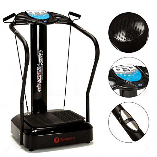 Fitnessclub Full Body Vibration Platform Fitness Machine Slim Whole Body Fitness Massage Machine Crazy Fit Home Gym W/ MP3 Player & Yoga Straps