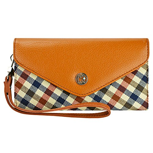 agnes plaid wallet wristlet clutch for apple