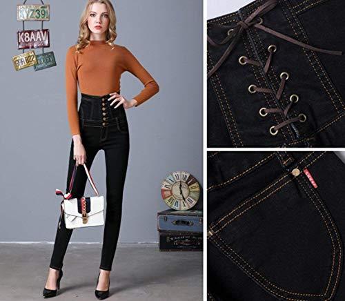 Schwarz Skinny Pantaloni Pantalone A Donna Alta Stretch Jeans Corsage Vita Trousers Betrothales P81qx6nw