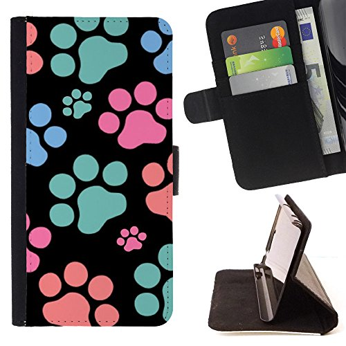 Paw Prints Wallet (FJCases Paws Print Animal Slim Wallet Card Holder Flip Leather Case Cover for Apple iPhone 6 Plus / iPhone 6S Plus)