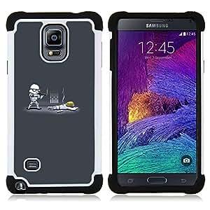 """Samsung Galaxy Note 4 IV / SM-N910 - 3 en 1 impreso colorido de Altas Prestaciones PC Funda chaqueta Negro cubierta gel silicona suave (Cartoon Starwars"""")"""