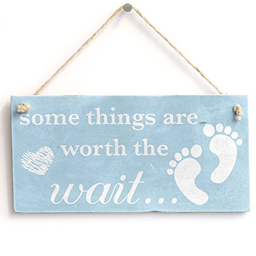 Meijiafei Some Things are Worth The Wait. Baby Boy - Vintage PVC Sign/Plaque 10
